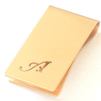 Bronze Money Clip Personalized with Hand Cut Calligraphy Inspired Initial – Parallel to Length Orientation-  MC2398