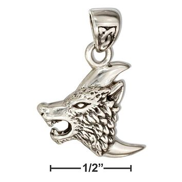 Sterling Silver Charm:  Crescent Moon With Wolf Head Pendant