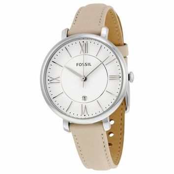 Fossil Womens ES3793 Silver Case with Cream Band Watch