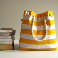 Sailor Tote Bag for market or beach or gym yellow by bayanhippo