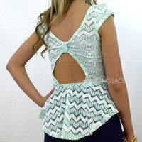Adler Vines Mint Chevron Lace Bow Peplum Top