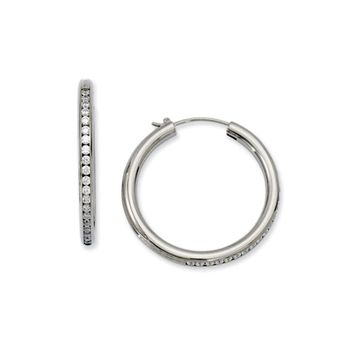 3mm Titanium Cubic Zirconia Round Hoop Earrings, 35mm (1 3/8 in)