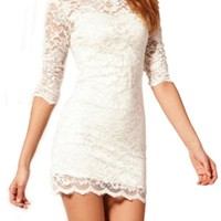 Women's Sexy White Lace Bodycon Mini Dress