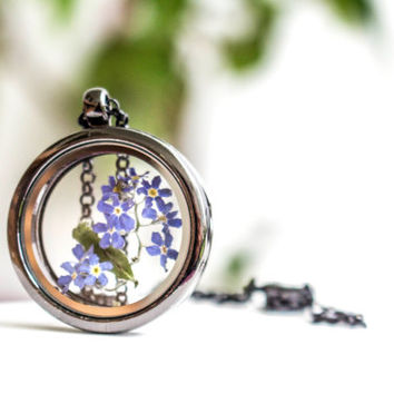 Necklace with real Flower, Glass Locket pendant , Jewelry Woman Real Dried Flowers Pendant,   Mother's Day