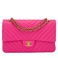 Chanel Fuchsia Chevron Large Classic Double Flap Bag