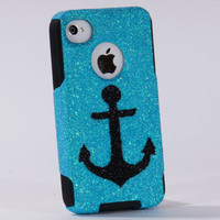iPhone4 Otterbox Case iPhone 4 Case Glitter Black Anchor by 1WinR