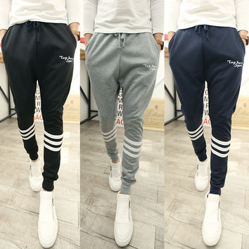 Korean Men Simple Design Print Pants [6539647683]