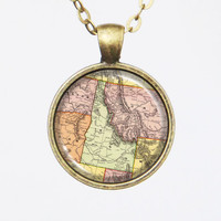 Idaho, United States Map Necklace - State of Idaho -Custom Vintage Map Series