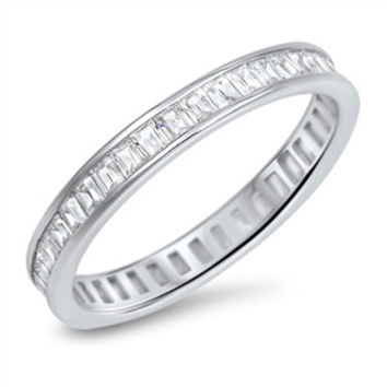 925 Sterling Silver CZ Baguette Simulated Diamond Eternity Ring 3MM