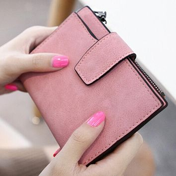 New Women Wallets Fashion Scrub Leather Lady'S Design Card Holder Coin Purse