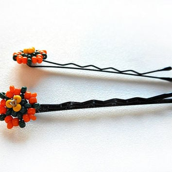 Beaded Hairpins, Orange Flowers on Bobby Pins, Beadwork in Peyote Stitch with Glass Seed Beads, Handmade Hair Ornaments