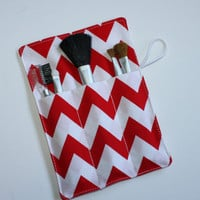 Makeup Brush Roll, Red and White Chevron Make-up Brushes Organizer, Makeup brushes Holder