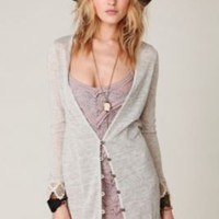 Slubby Crochet Hem Cardigan at Free People Clothing Boutique $108