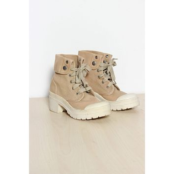Chunky Canvas Lace Up Boots 8