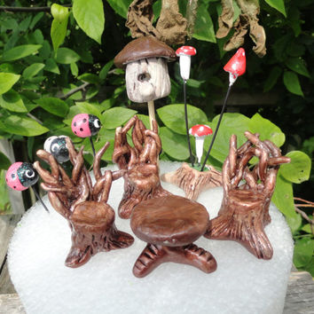 beautiful complete fairy garden set twig table and 3 twig chairs twig planter birdhouse and fairy bugs and mini mushrooms