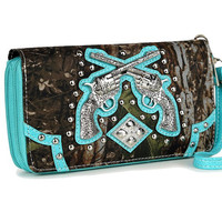 * Western Cowgirl Camouflage Gun Accented Double Zipper Stud Wallet In Turquoise