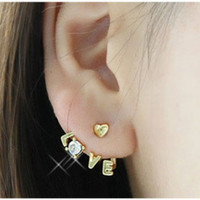 Korean Chic Love Letters Stud Earrings With Shiny Rhinestone Earrings Hot Sell
