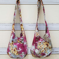 Victorian Floral Tie Dye Cotton Long Sling Reversible Bag - Pink Fuchsia Sling Reversible Bag