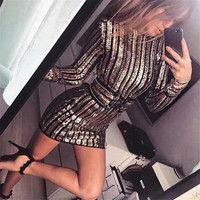 Jerica Gold Detailed Party Dress