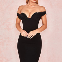 Clothing : Bodycon Dresses : 'Yolanda' Black Push Up Bust Dress