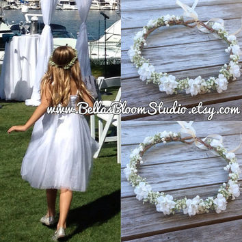 Babys Breath Crown Halo Dry baby breath crown Baby Breath hair Preserved baby breath hair wreath Baby breath halo toddler flower crown etsy