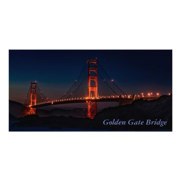 Gorgeous San Francisco Golden Gate Bridge at Night Photo Print