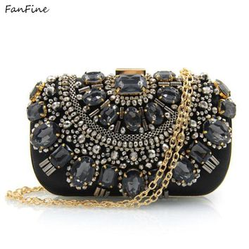FanFine Brand Women Handbags Crystal Evening Purse Metal Clutches Silver Beaded Bridal Wedding Box Clutch Bags Bolsos Mujer