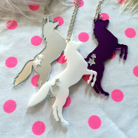 Prancing Unicorn Pendant Necklace in White, Purple, or Silver