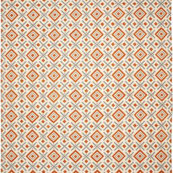 Dhurries Contemporary Indoorarea Rug Ivory / Tangerine