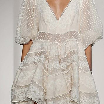 Love At First Sight White Lace Elbow Lantern Sleeve V Neck Beaded Flare Casual Mini Dress
