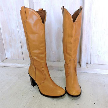 90s Tall brown leather Boots / size womens 10 / taupe knee high boots / chunky heel / Franco Sarta / made in Brazil
