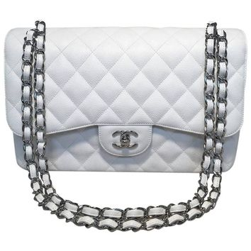 Chanel White Caviar Leather Jumbo 2.55 Double Flap Classic Shoulder Bag