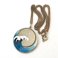 Vintage Scottish Sterling Silver Enamel Pendant Necklace 60s Blue Surfer Water Wave Hjaltasteyn Jewelry Mid Century Antique Estate Jewelry