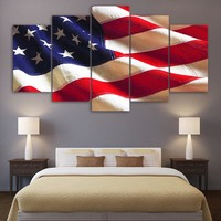 HD printed 5 piece canvas art american flag usa print wall pictures for living r