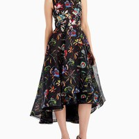 Jason Wu Sleeveless Floral-Print Organza Cocktail Dress