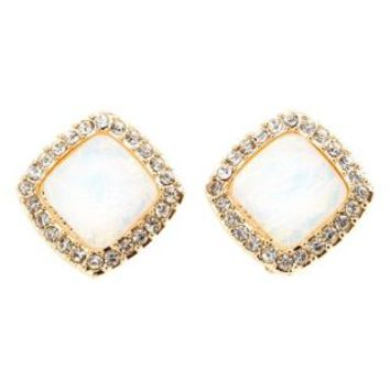 Opalescent Stud Earrings by Charlotte Russe - Gold