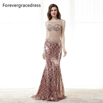 Forevergracedress Sexy Bingbing Prom Dress Gorgeous Sheer Illusion Neck Long Backless Formal Party Gown Plus Size Custom Made