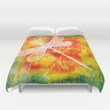 Dragonfly in embroidered beauty Duvet Cover by Wendy Townrow