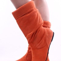 ORANGE FAUX SUEDE MID-CALF BOOTS