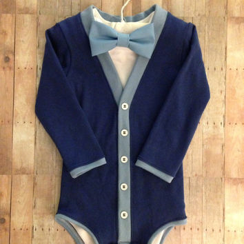 Easter Baby Cardigan One Piece: Blue with Interchangeable Tie Shirt and Bow Tie