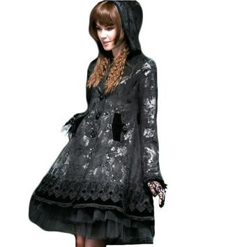 Punk Gothic Lolita Butterfly Flocking Rose Button Long Coat Women Winter Dolly Cute Coats Black Hooded Long Sleeve Lace Jacket