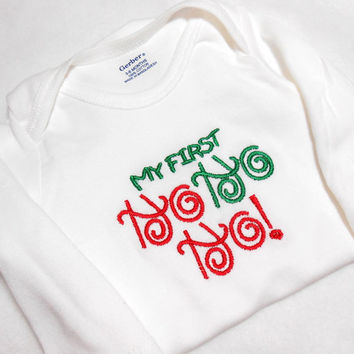 Christmas Baby, First Christmas, 3 to 6 months, Bodysuit Long Sleeve,  Baby One Piece, New Baby Christmas, First Ho Ho Ho, Embroidered One
