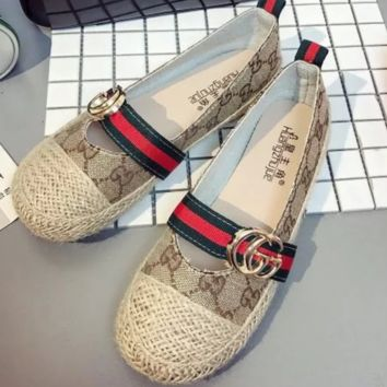 GUCCI New fashion flat women red and green stripe shoes casual shoes straw shoes Khaki