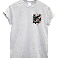 Pink Vintage Rose Pocket White T Shirt