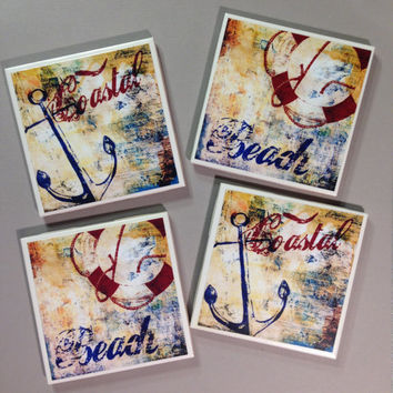Nautical coasters, Beach house coasters, boat, anchor, beach, coastal, blue beach coasters, nautical home decor, beach decor, ocean side