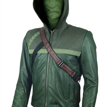 New Arrow Oliver Queen Stephen Amell Faux Leather Jacket with Denim Hoodie