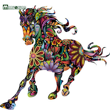New Arrival Abstract Design Decorative Wall Decal Colorful Flower Pattern Pentium Horse Wall Stickers For Kids Rooms Decoration