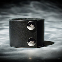 Leather Cuff - Black Latigo - Nickel Fasteners - 2 Inches Wide