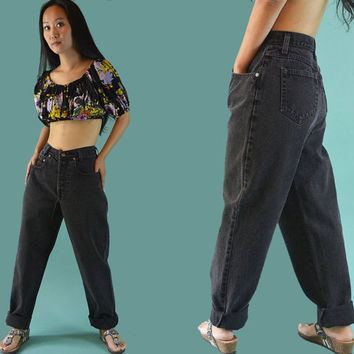 80s High Waist Jeans Faded Black New York Line Jeans / High Waisted Jeans / Taper Jeans / Vintage Black Jeans / 1980s Mom Jeans 28 Waist