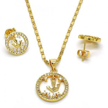 Gold Layered 10.199.0106 Necklace and Earring, Crown Design, with White Cubic Zirconia, Polished Finish, Golden Tone